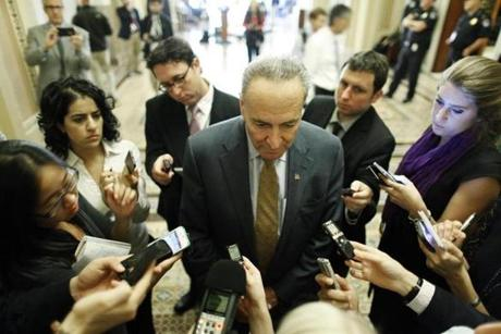 Senator Charles Schumer spoke with reporters before a Senate Democratic luncheon.